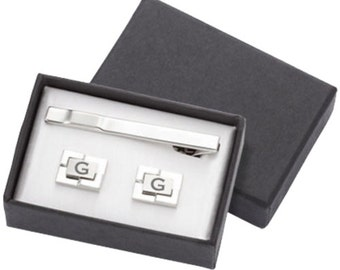 Monogrammed Geometric Cuff Links and Tie Clip