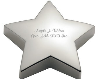 Engraved Shining Star Paperweight