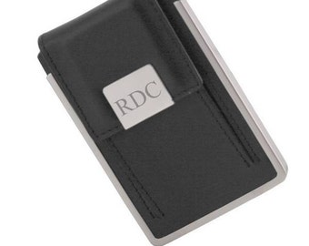 Monogrammed Genuine Leather Business Card Case