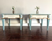 Shabby Chic End Tables / Nightstands - Blue, Cream & Gold Chalk Paint