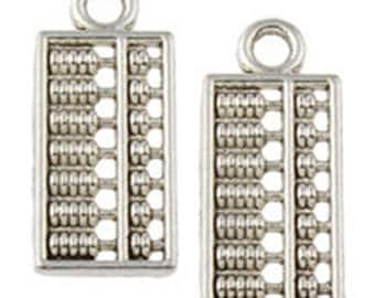 12pc 18x8mm antique silver finish metal abacus pendant-10188