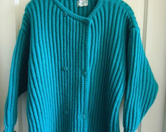 Vintage 80s BENETTON Cable Knit Chunky Wool Cardigan sz L/XL