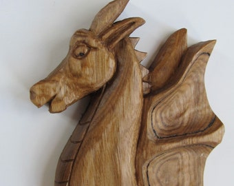 Dragon Carving  SALE Celtic Dragon Wood Dragon Art Wood Sculpture Wall Hanging Wood Wall Art OOAK  Birthday Anniversary Maine made