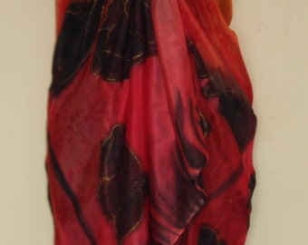 Hand Dyed Red and Orange Silk Sarong with Black Poppy Design