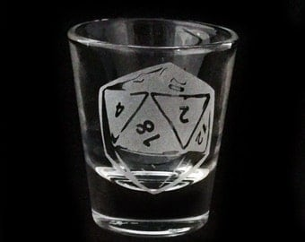 D20 Gamer Dice Etched Shot Glass Barware Nerdy Gift Game Dice