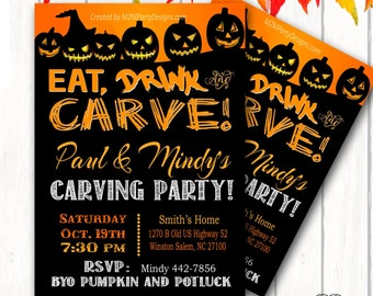 Pumpkin Carving Halloween Party Invitation, Eat Drink Carve/Custom Printable PDF/JPG Printable DIY