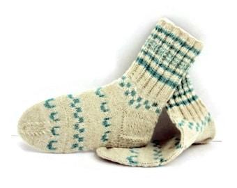 Wool Women Socks. Hand Knitted Winter Socks. M socks size