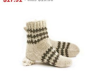 10%SALE Unisex Rustic Wool Socks. Organic Undyed Wool Socks. M men and M women socks size.