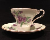 Vintage Teacup and Saucer, Aynsley China, Floral, Purple and Green