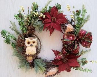 Holiday Owl Wreath