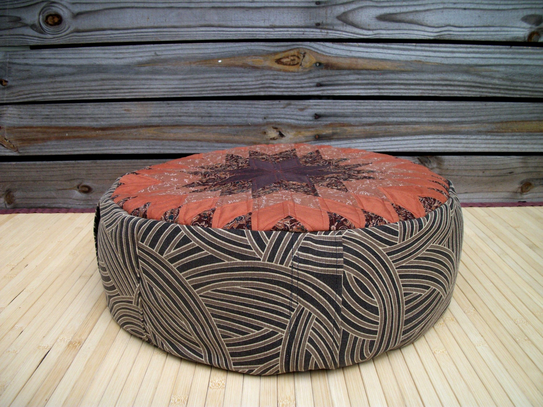 Large Round Floor Pillows : Large Zafu. Round Floor Pillow. Ottoman. 8 Buckwheat Hulls.