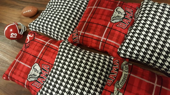 Houndstooth Print And Crimson Cornhole Bags Set Of 8 Roll