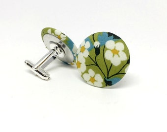 Liberty of London Silver Plated Cufflinks in Mitsi Green