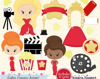 INSTANT DOWNLOAD, movie clipart, oscar clip art, for commercial use, personal use