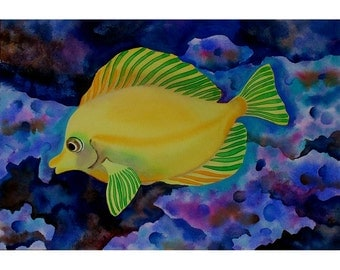 Tropical Fish colourful original painting in Gouache