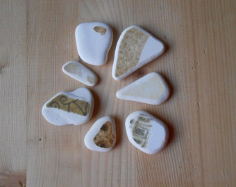 Genuine sea pottery , white beach pottery,  7 pieces, white,brown,mustard, jewelry supplies, crafting, art    lotto171