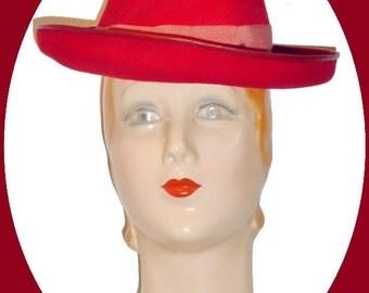 1940s Dapper red wool felt suit hat