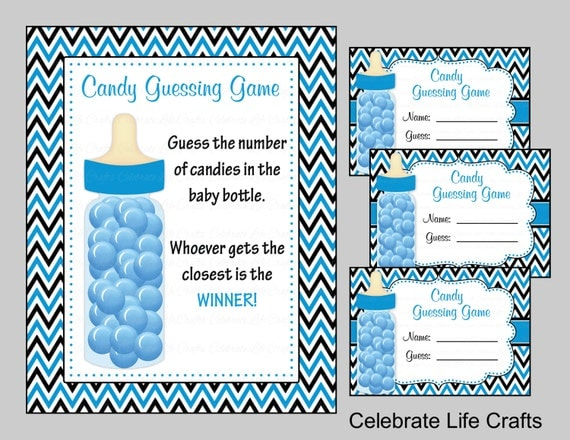 baby shower candy bottle or candy jar guessing game sign and. Black Bedroom Furniture Sets. Home Design Ideas