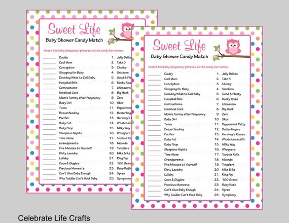 Baby shower sweet life candy bar match game printable baby for Food bar games free online