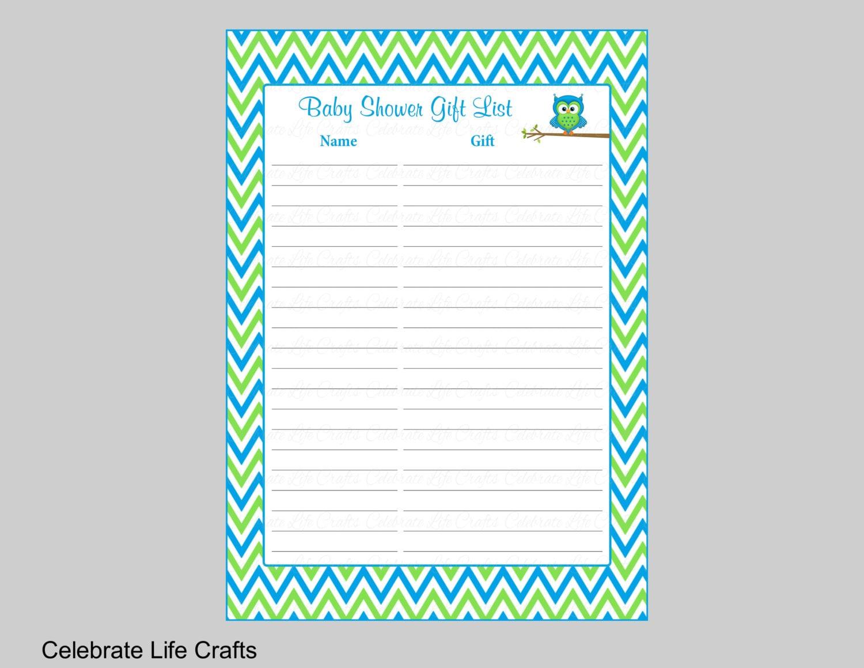 Baby Gift List Uk : Owl baby shower gift list printable record sheet for