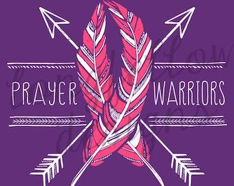 Prayer Warrior - Awareness Ribbon T-shirt design file to print yourself - Customize Awareness Color