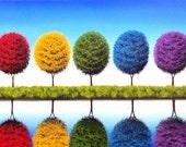 Rainbow Trees Art Print, Colorful Tree Landscape Print, Rainbow Tree Art, Large Colorful Wall Art, Mid Century Modern Art Print, Bing Art