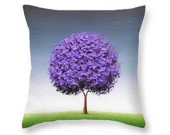 Tree Throw Pillow, Purple Tree Art, Decorative Pillow, Nature Art Home Decor, Contemporary Accent Pillow, Sofa Pillow, Designer Cushion