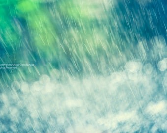 Summer Splash Rain Falling -Home Decor Wall Art -Fine Art Nature Photo Print On Metallic Paper -Abstract In Vibrant Green, Blue & White