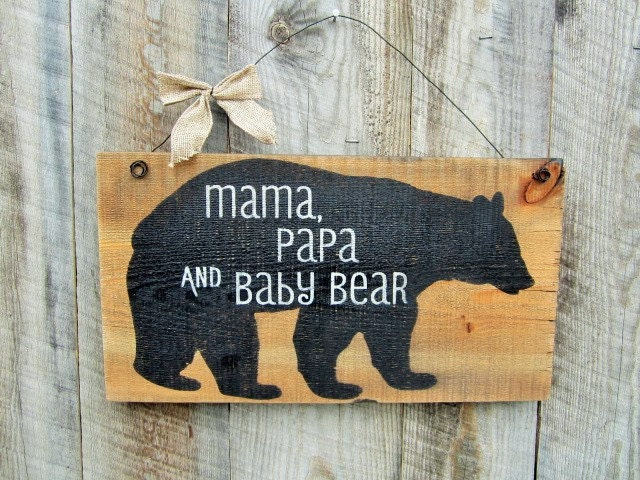 Rustic home decor mama papa baby bear rustic nursery decor for Rustic bear home decor