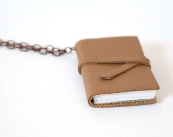 Small Tan Leather Book Necklace - Book Pendant with strap on Bronze Chain with vintage map
