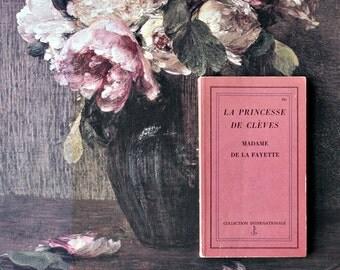 Vintage 1960s French Literature - La Princesse De Cleves by Madame De La Fayette - Valentine's Day Gifts, Pink Home Decor, Romantic Gifts