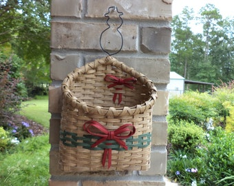 Snowman Christmas Card Basket Handwoven Basket Christmas Wall Basket