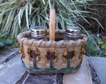 Sunflower Salt and Pepper Shaker Basket Sunflower Basket Kitchen Basket Handwoven Basket
