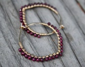 "Gold Filled Hoops, Garnet Hoops, 1-1/8"" hoops, Petal Hoops, Wire Wrapped Hoops, January Birthstone, Lightweight Earings, Wire Jewelry"