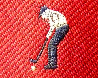 "Vintage ""GOLFERS PUTTING"" on a Red Background Trad / Ivy League Club Emblematic Embroidered Neck Tie."
