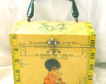 Vintage 1970's Decoupage Wood Sewing Box or Purse, Bright and Clean Covered with Butterick Patterns; Perfect for Embroidery Threads