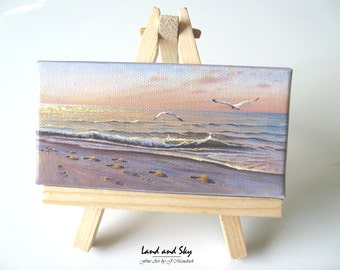 2x4 Ocean Sunrise Mini Painting by J. Mandrick