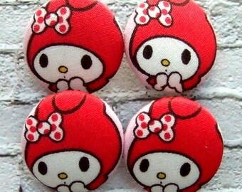 4 cute Melody Fabric Buttons (22mm)