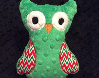 Christmas Green Minky Owl