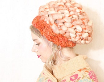 Slouchy hat woman Chunky beanie Thick knit hat Chunky crochet hat Woman tam Chunky beret Warm beret Woman beanie hat Dreadlocks hat Orange