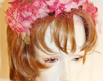 50% Off Valentines Sale Ladies Vintage Headband Hat with Pink  Silk Flowers by Tonnies Size M