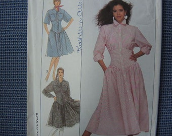 vintage 1980s Simplicity sewing pattern 8488 misses dress in two lengths size 10/12/14