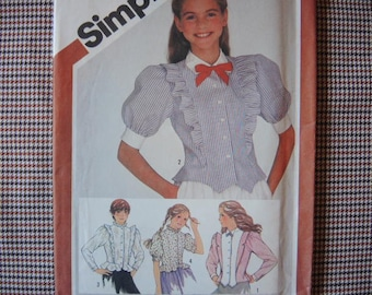 vintage 1980s Simplicity sewing pattern 5917 UNCUT  girls fitted blouses size 14
