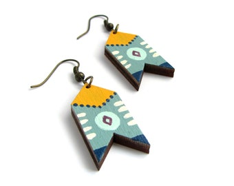 Duck Egg and Mustard Painted Folk Style Chevron Drop Earrings