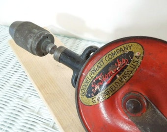 Goodell-Pratt No. 0477, Two-speed Breast Drill, 16 1/2 inch Double Pinion Drill, Antique Tools, Made in USA, Antique