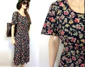 Pretty E.D. Michaels Rayon 80's Dress Floral Medium 90's Dress Garden Party Dress Party Dress Summer Spring Easter Dress 20s 30s 40s 50s