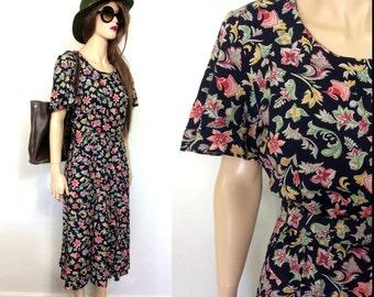 Pretty E.D. Michaels Rayon 80's Dress Floral Medium 90's Dress Garden Party Dress Party Dress Summer Spring Easter Dress 20s 30s 40s 50s