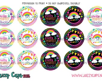 """Bottle Cap Images, Cute Saying Images, 1"""" Circle Image, Printed Precut: Pretty and Perfect, Rainbows, Bottle Cap Images, Pretty Perfect,"""