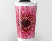 Pink Gerbera Daisy Ceramic Travel Mug, Photo Travel Mug, Flower Mug, Fine Art Photography