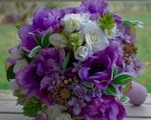 Silk bridal bouquet purple, lavender anenomes, star of bethlehem, cream roses, mixed greens